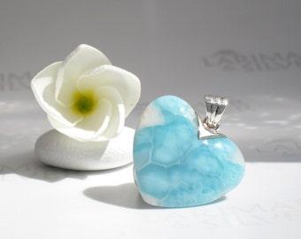 Larimarandsilver heart pendant, My Heart is like a Frozen River - ice blue Larimar heart, frozen heart, turtleback, handmade Larimar pendant