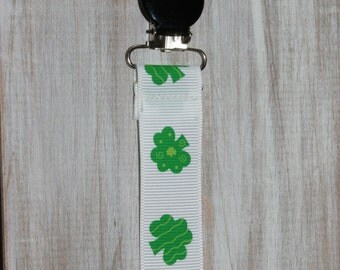 Baby boy or girl shamrock st patricks day suspender binky clip