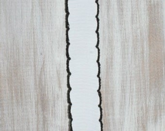 Baby girl white with black edging ribbon suspender binky clip