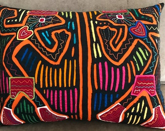 Mola from Panama Pillow, Kuna Indian Mola, Panama Mola, Tribal Dancers Mola, Hand Sewn Mola, Abstract Art Pillow