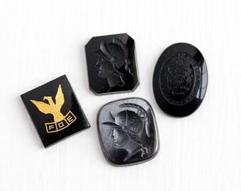 Sale - Vintage Black Onyx or Hematite Supply Stone Gems - Antique Jewelry Findings FOE or Warrior Soldier Intaglio Gemstone - Choose Variety
