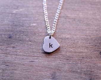Stamped Initial Heart Charm Necklace: Silver