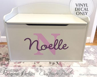 Personalized Toy Box Decal, Monogram Decal for Toy Chest, Toy Storage Removable Vinyl Decal, Shown: Noelle (0173a105v-r3c)