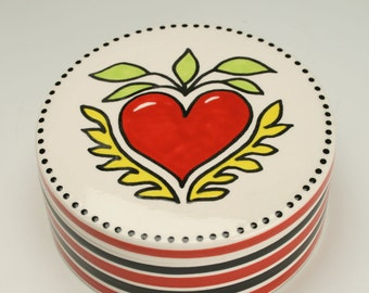 Big Red Heart Box, Tattoo Heart Catchall Trinket Box, Valentines Day Mens Gift, Womans Gift, Teen Gift, Ceramic Jewelry Box