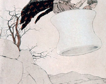 The Baba Yaga & Peter, Katharine Pyle, Vinatge Art Print