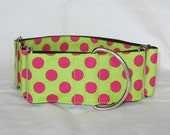 Pink Polka Dot Martingale Dog Collar - 1.5 or 2 Inch - lime green magenta big dots spring fun bright