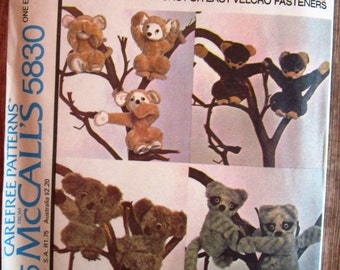 Vintage 1970s Set of Stuffed Animals with Velcro Hands: Monkey, Raccoon, Honey Bear and Koala Bear McCalls Carefree Pattern 5830 UNCUT