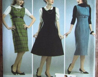 1950s Style Misses Dress or Jumper with Skirt Variations in Three Lengths Sizes 6 8 10 12 14 Simplicity Pattern 3673 UNCUT