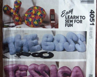 Vintage 1980s Easy to Sew Stuffed Alphabet Pillows, Letters, Name, Words McCalls Crafts Pattern 4051 UNCUT