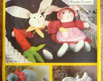 Vintage 1980s Country Animals: Bunny, Cat, Duck Butterick Pattern 6653 UNCUT
