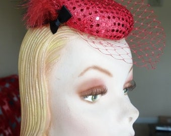 Red Sequined Button Fascinator with Feathers & French Netting