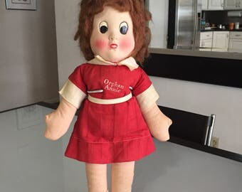 Little Orphan Annie Doll/Vintage Cloth Doll/ Rag doll/ Mask Face/ Storybook Doll/ Cartoon Character/c.1930's By Gatormom13