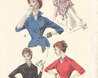 1950s Surplice Wrap Blouse Nipped Waist V Neck Wing Collar or Collarless Sleeve Variations Butterick 7640 Bust 32 Vintage Sewing Pattern