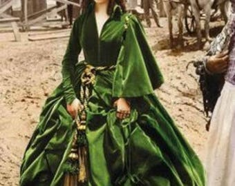 Scarlett O'Hara Green Drapery Dress Civil War Dress Gone With the Wind Butterick 4051 Sizes 6-8-10 Bust 30.5-32.5 Women's Sewing Pattern