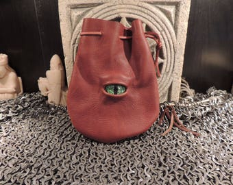 Dragon eye dice bag (Rust  leather with Green Eye)----New Style-----