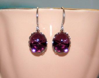 Vintage Petite swarovski Amethyst purple lindy star silver bridesmaid earrings