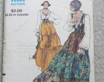 Miss Vogue, Long Tiered Ruffled Skirt and Peasant Blouse Pattern, Size 10, Peasant Skirt Pattern, Poet Blouse and Bolero Vest Pattern