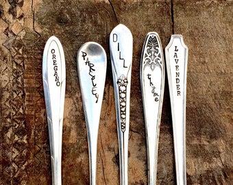Hand Stamped Vintage Spoon Herb Garden Markers. Choose Quantity. Hand Stamped Herb Marker. Hand Stamped Garden Stakes. Vintage Spoon Markers