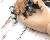 One Black or White Antique silver plated ring 3 semi-precious stones Boho chic Statement Cocktail ring women US size 6-7 by Inali