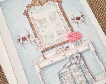 Note Card and Envelope Dressing Room Vanity Design