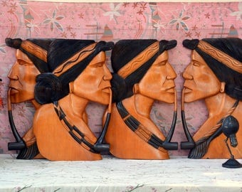 """24""""tall Vintage DEADSTOCK Native Couple Heads, Two sets: Carved Wooden Wall Plaque Pairs of Tribal Indian Profile Silhouettes, Smoking Pipes"""