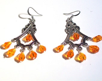 Chandelier Earrings, Orange Swarovski Faceted Crystal Tear Drop Chandelier Earrings,  2.75 Inch Earrings, Available Colors, Select Ear Wires
