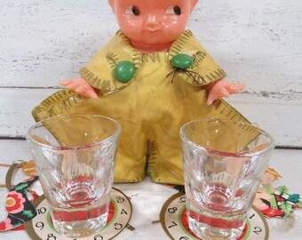 Kewpie Baby Doll Shot Glass Holder, Irwin Doll Co., Hard Plastic, Vintage Barware, Unique Fun Gift for Him