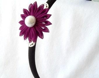Violet Kanzashi Flower Headband Unique Wearable Fiber Art