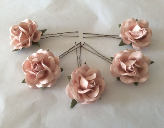 Hairpins x 5 Paper Roses. Blush Pink/Nude. Bridal, Regency, Victorian.