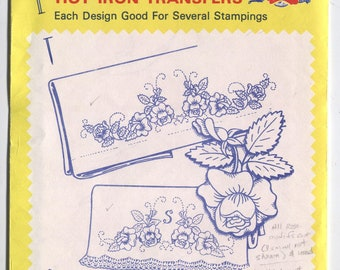 Various PILLOW CASE Designs - Hot Iron Embroidery Transfers - Aunt Martha's - CUT & Used in Opened Packaging - On Sale!