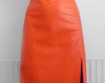 Vintage Retro 1990s ICEBERG Orange genuine leather pencil skirt designer knee length high waist fetish color block colour body con latex