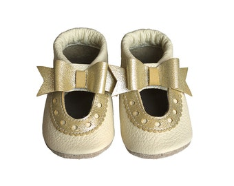 Leather Baby Sandals with Ribbon, Baby Shoes, Infant, Newborn Shoes, Nursery, Children Shoes, Gold, Beige