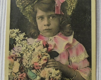 French Antique Postcard - Little Girl with Flowers