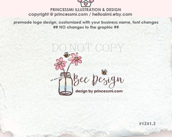 1241-2 DAISY FLOWER Logo Design, JAR logo design ,photography logo business logo , mason jar, floral design