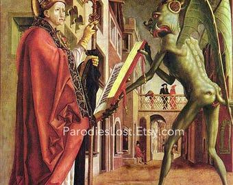 Demon Satan Devil Saint Augustine Pacher Horror Witchcraft Print