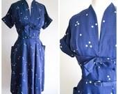 1940s Navy blue white polka dot day dress / 40s dark blue spotty full skirt dress - S