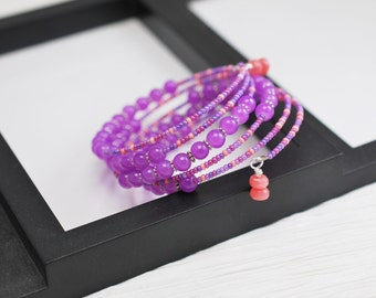 Pink and Purple Bracelet, Purple Wrap Bracelet, Purple Bracelet, Memory Wire Bracelet, Purple Seed Bead Bracelet, Beaded Wrap Bracelet