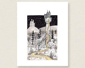 Rapunzel's Tower - Fairytale Ink Illustration Art Print. Tangled. Rapunzel. Limited edition artist enhanced print