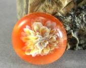 Orange Glass Cabochon - Lampwork Implosion Glass Bead - Handmade Supply
