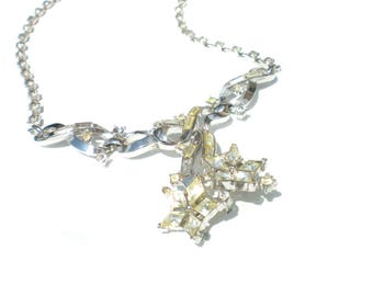 """Trifari Rhinestone Necklace Twinkle Alfred Philppe Design on Silver Tone - 16"""" Vintage Jewelry"""