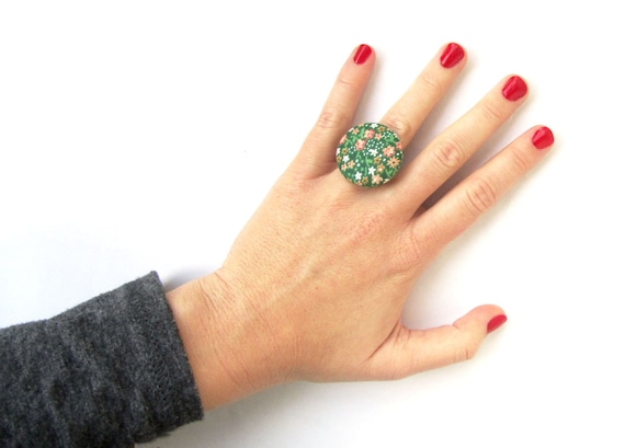 Dark green statement ring - large floral ring - vintage style button ring - big fabric ring - women ring - white coral flowers