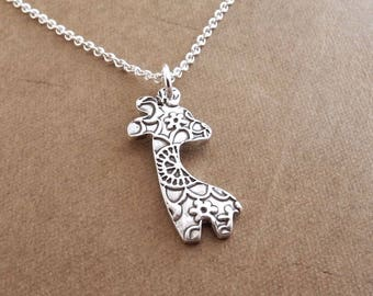 Mini Giraffe Necklace, Fine Silver Flowered Giraffe, Sterling Silver Chain, Made To Order