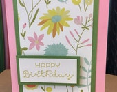 Handmade Birthday Card, Floral Birthday Card, Feminine Birthday Card, Happy Birthday Card, Birthday Card