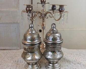 2 old vintage silver mercury glass canister bottles vase EtChEd and GORGEOUS