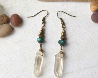 Raw Quartz Point & Malachite Crystal Dangle Earrings