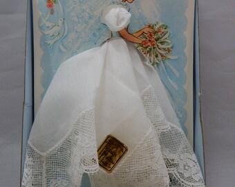 TREASURE MASTERS Pure Cotton Lace Wedding Handkerchief Hankie New in Original Box NOS