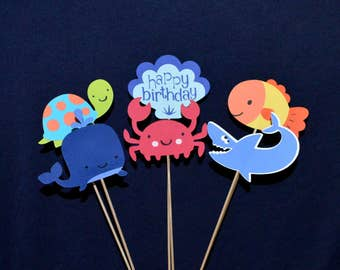 Under the Sea Party Centerpiece Birthday Decoration Cake Topper Table Decoration Crab Whale Shark Fish Happy Birthday Shell READY TO SHIP