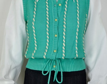 1970s seafoam green acrylic pullover with cables. Vintage button front woman's vest tanktop. Size Medium B35 sleeveless sweater jumper 70s