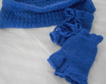 blue set   hand crochet cowl shawl and gloves