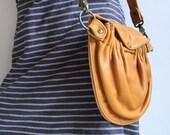 Yellow Leather Tasku Convertible Bag- Mustard Yellow Leather- Leather Crossbody Bag- ready to ship- fanny pack bag- hip pocket bag